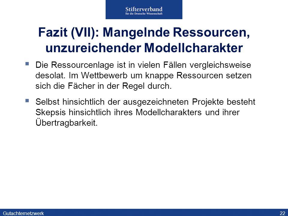 Fazit (VII): Mangelnde Ressourcen, unzureichender Modellcharakter