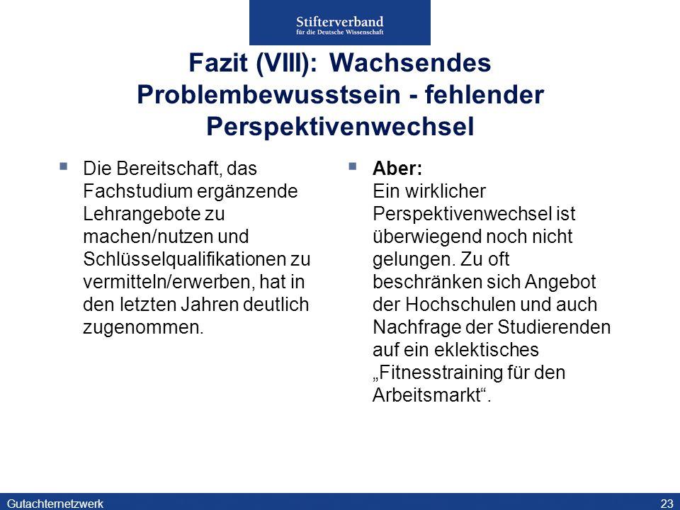 Fazit (VIII): Wachsendes Problembewusstsein - fehlender Perspektivenwechsel