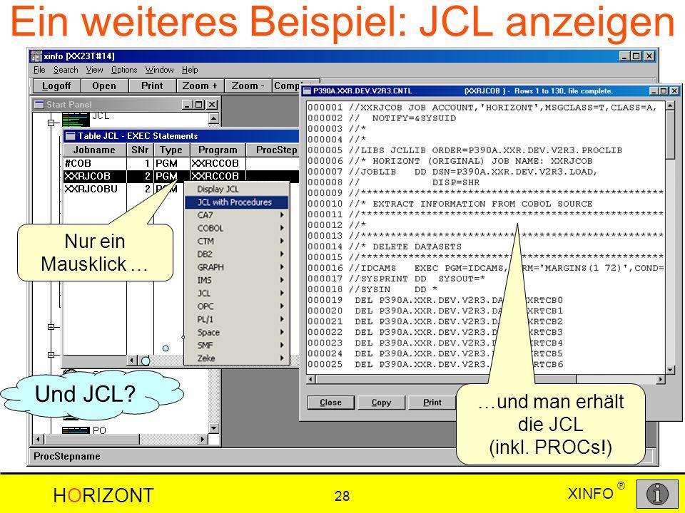 Ein weiteres Beispiel: JCL anzeigen