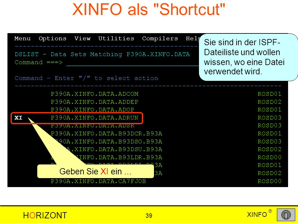 XINFO als Shortcut Menu Options View Utilities Compilers Help