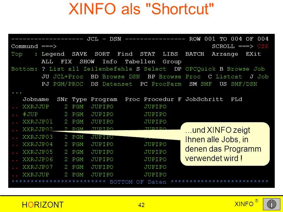 XINFO als Shortcut