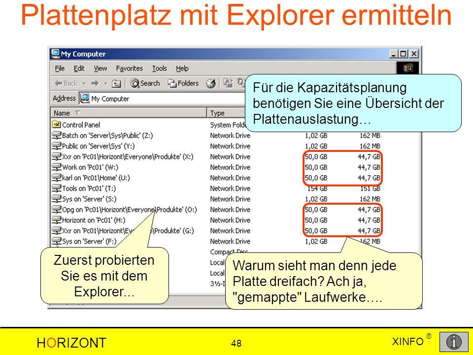 Plattenplatz mit Explorer ermitteln