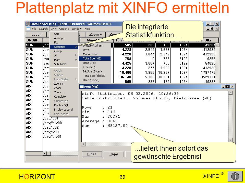 Plattenplatz mit XINFO ermitteln