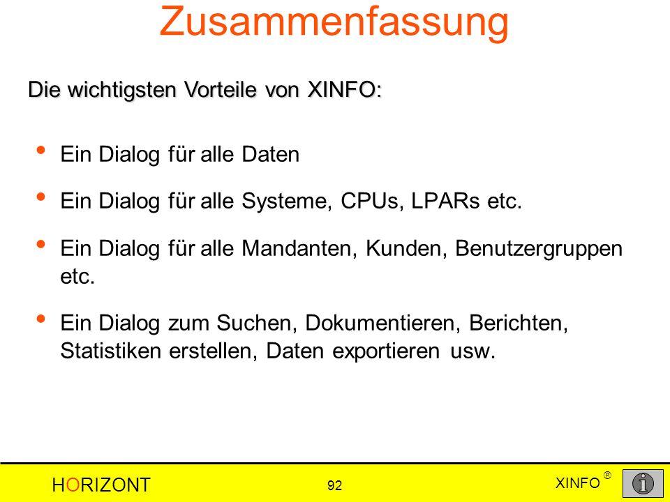 Zusammenfassung Die wichtigsten Vorteile von XINFO:
