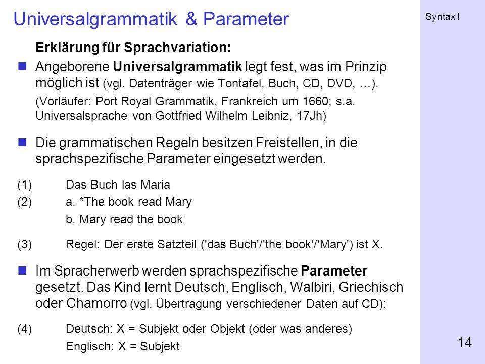 Universalgrammatik & Parameter
