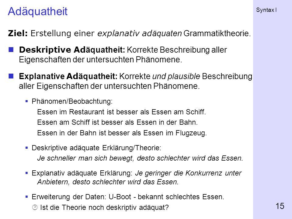 Adäquatheit Ziel: Erstellung einer explanativ adäquaten Grammatiktheorie.