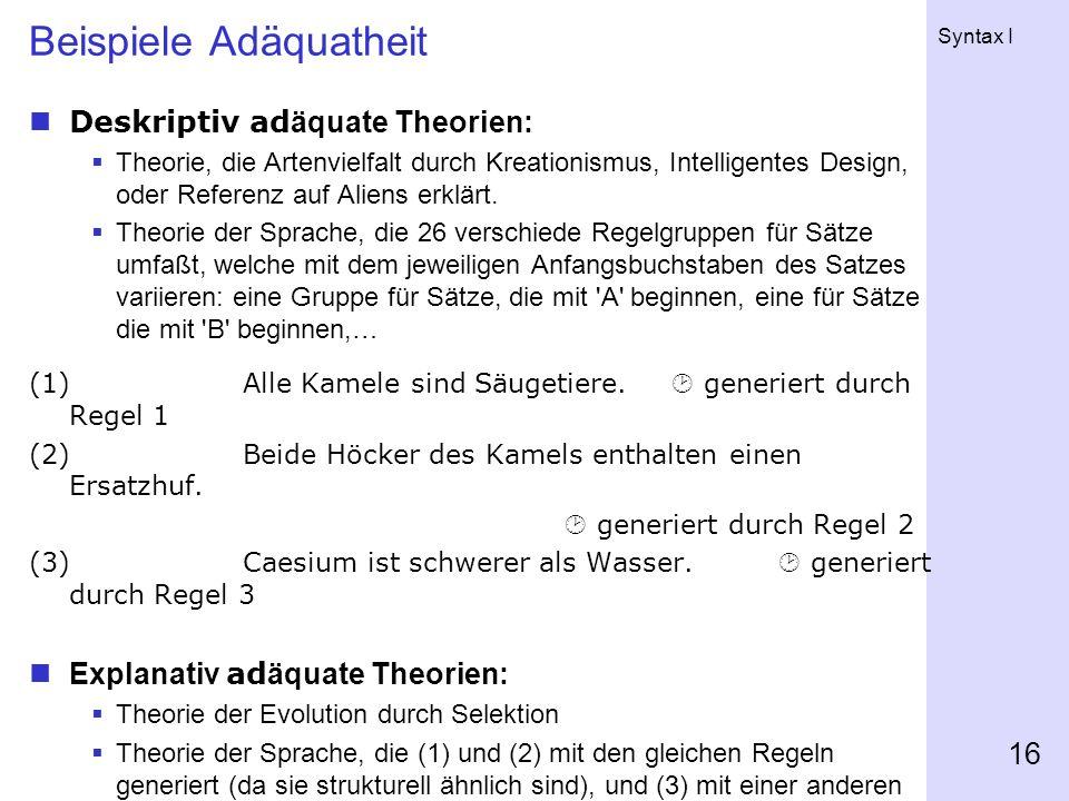 Beispiele Adäquatheit