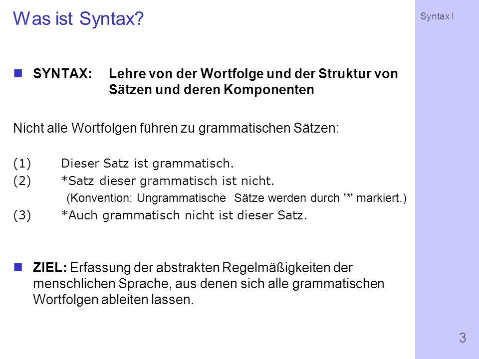 Was ist Syntax SYNTAX: Lehre von der Wortfolge und der Struktur von Sätzen und deren Komponenten.