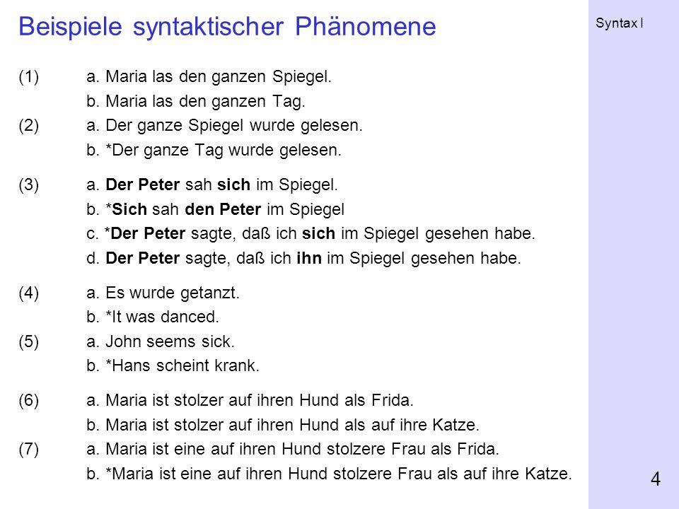 Beispiele syntaktischer Phänomene