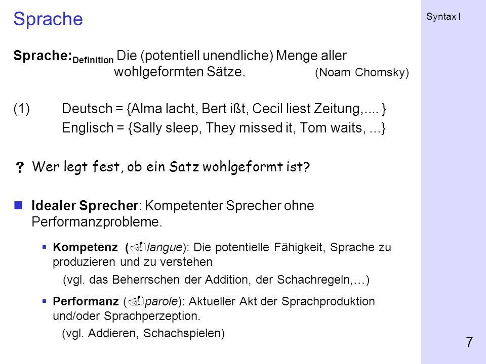 Sprache Sprache:Definition Die (potentiell unendliche) Menge aller wohlgeformten Sätze. (Noam Chomsky)