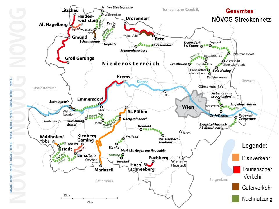 Legende: Gesamtes NÖVOG Streckennetz Planverkehr Touristischer Verkehr