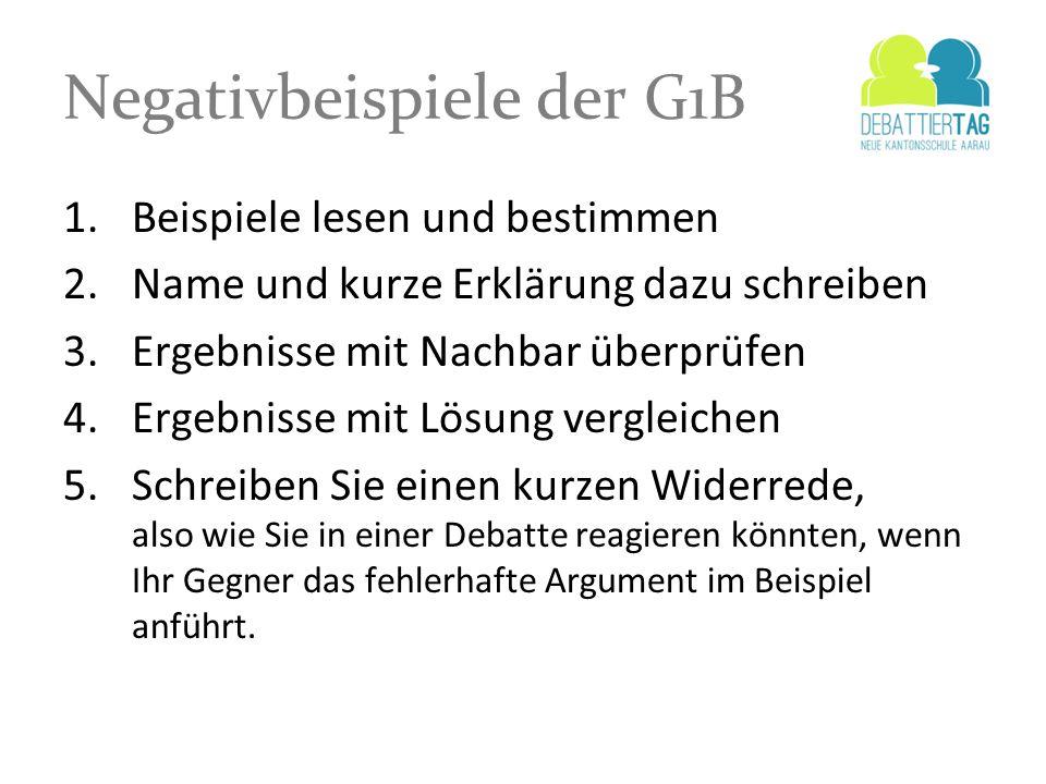 Negativbeispiele der G1B