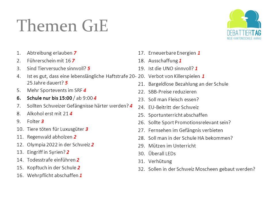Themen G1E Abtreibung erlauben 7 Erneuerbare Energien 1