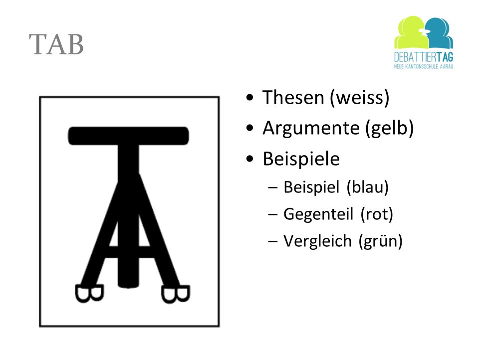 TAB Thesen (weiss) Argumente (gelb) Beispiele Beispiel (blau)