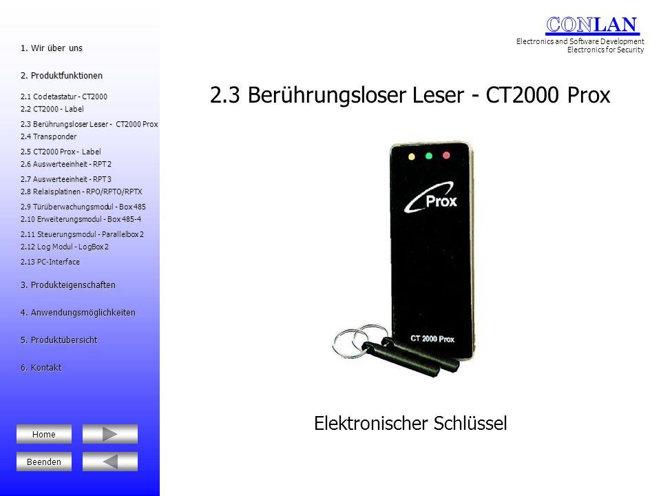 2.3 Berührungsloser Leser - CT2000 Prox