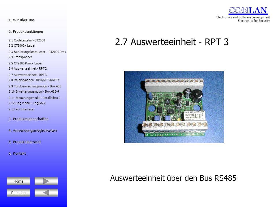 Auswerteeinheit über den Bus RS485