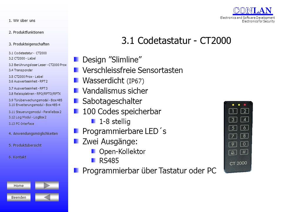 3.1 Codetastatur - CT2000 Design Slimline