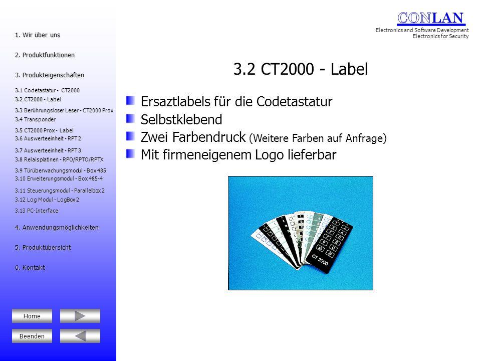 3.2 CT2000 - Label Ersaztlabels für die Codetastatur Selbstklebend