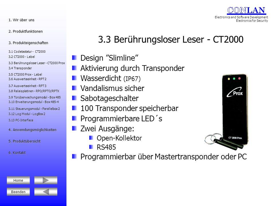 3.3 Berührungsloser Leser - CT2000