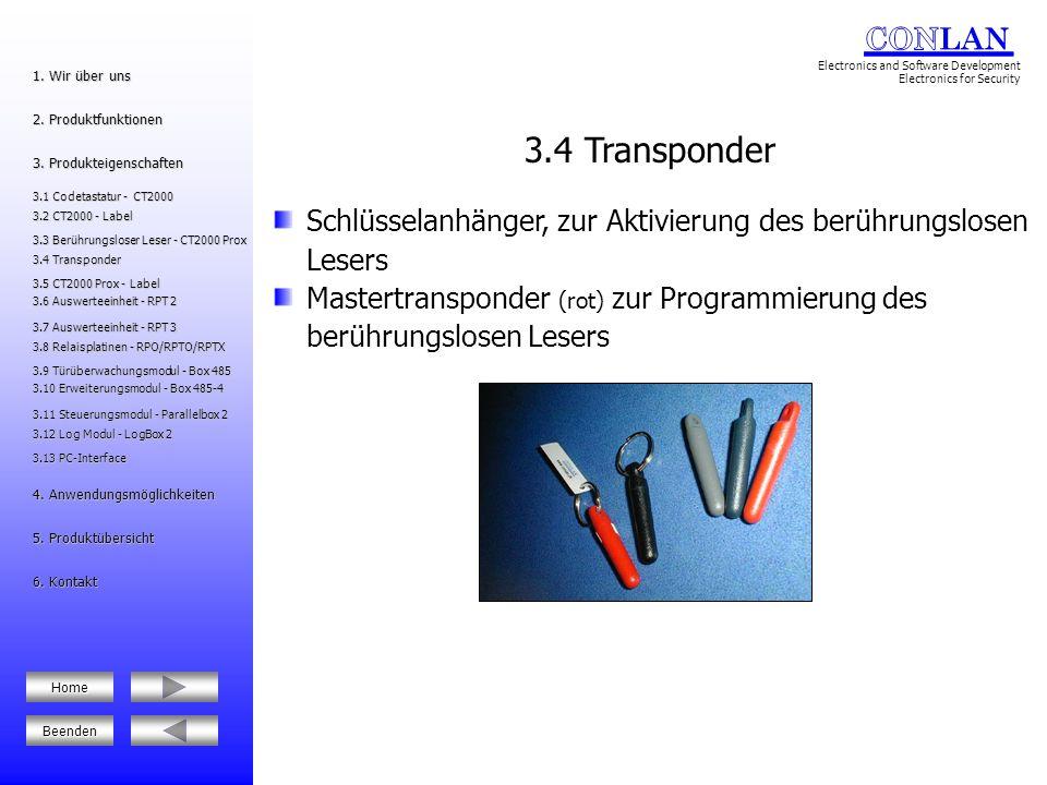 3.4 Transponder Schlüsselanhänger, zur Aktivierung des berührungslosen