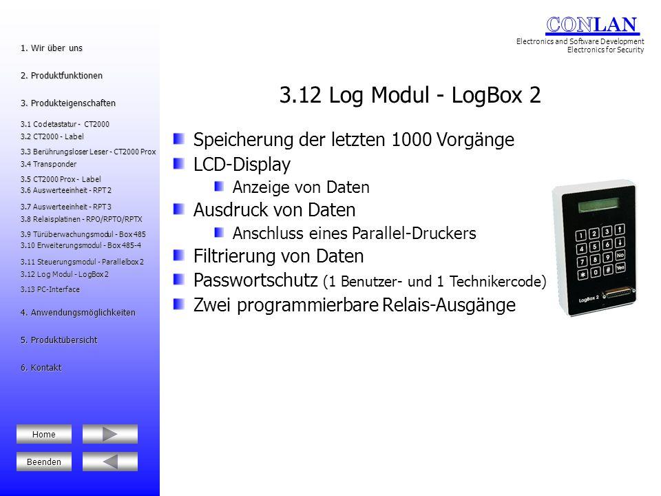 3.12 Log Modul - LogBox 2 Speicherung der letzten 1000 Vorgänge