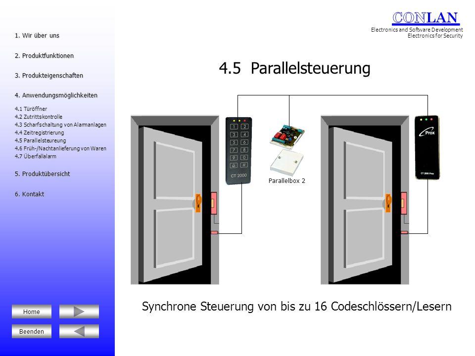 Synchrone Steuerung von bis zu 16 Codeschlössern/Lesern