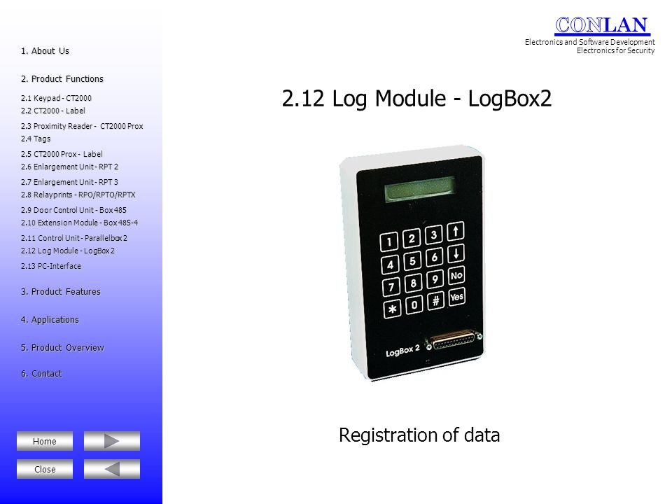 2.12 Log Module - LogBox2 Registration of data 1. About Us