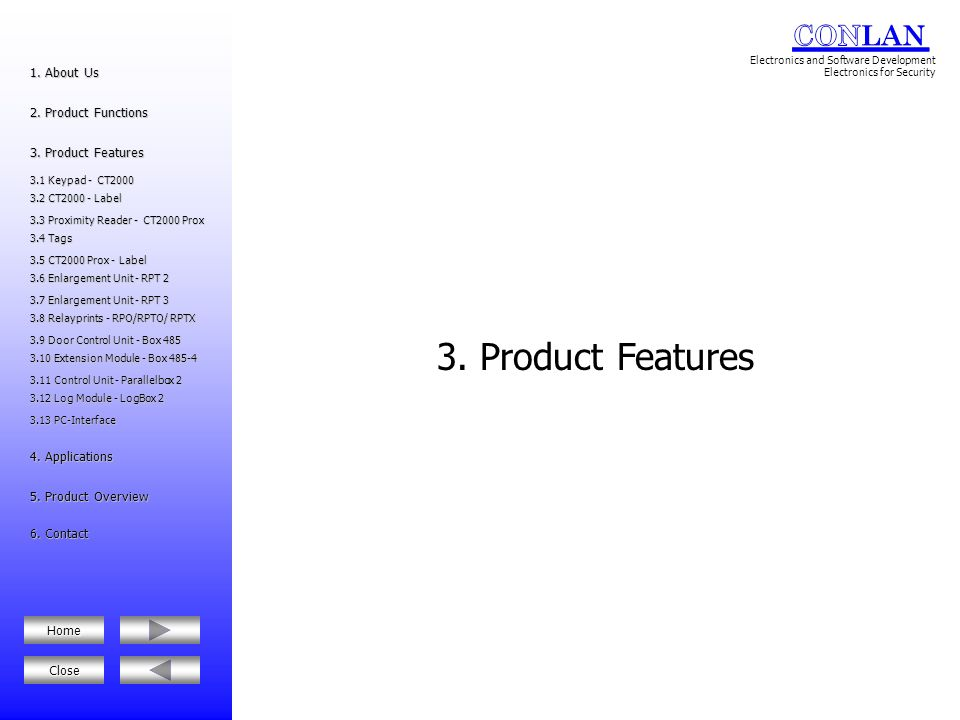 3. Product Features 1. About Us 2. Product Functions