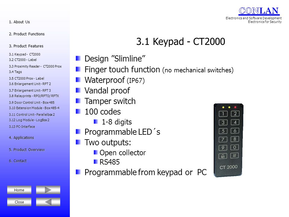3.1 Keypad - CT2000 Design Slimline