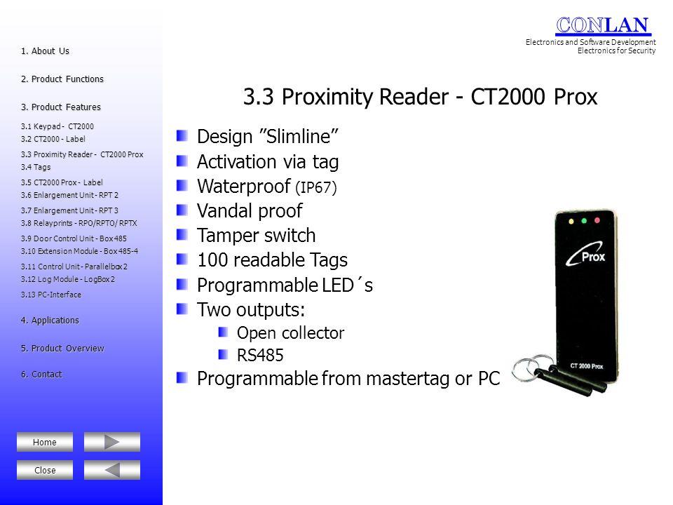 3.3 Proximity Reader - CT2000 Prox