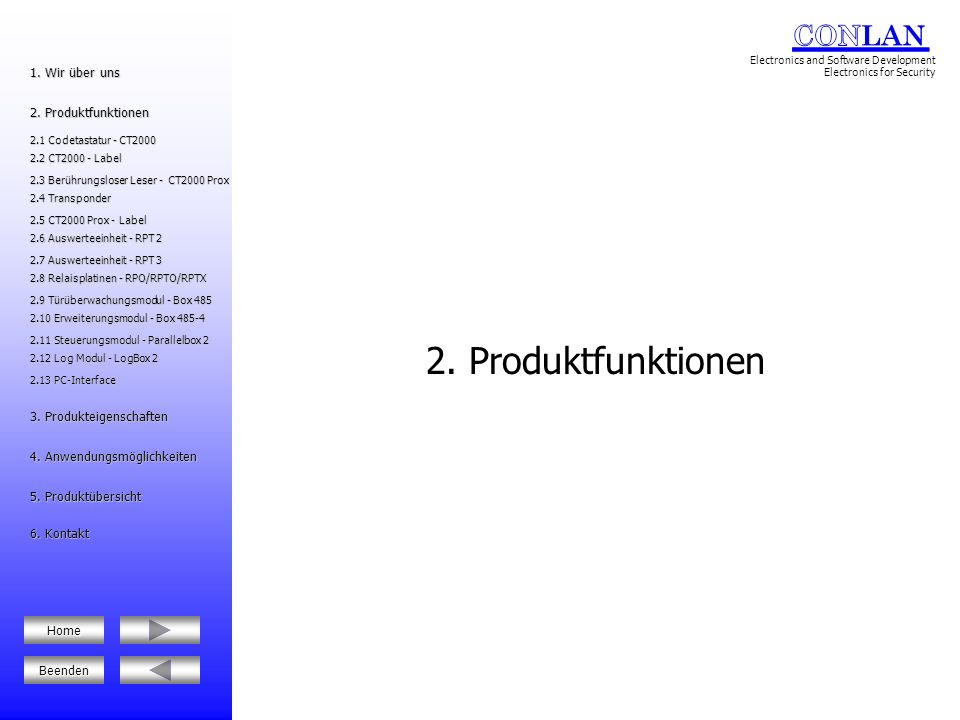 2. Produktfunktionen 1. Wir über uns 2. Produktfunktionen