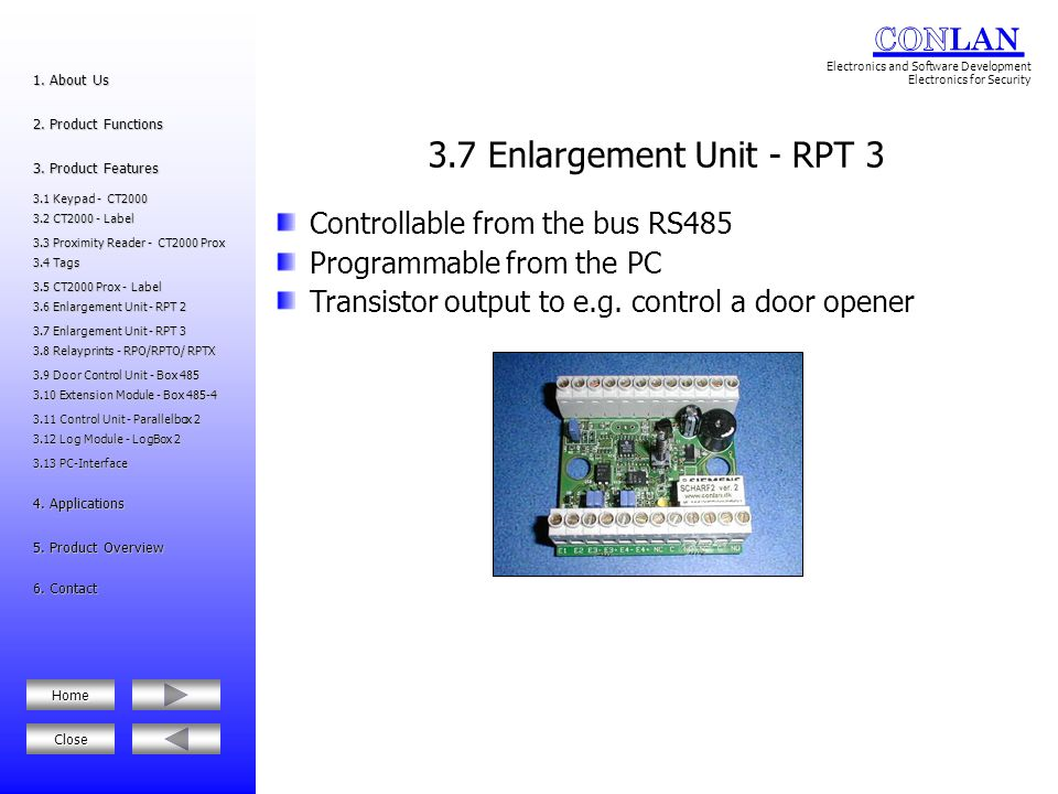 3.7 Enlargement Unit - RPT 3 Controllable from the bus RS485