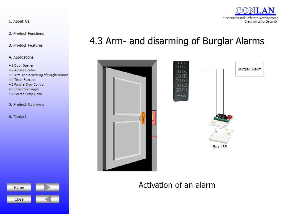 4.3 Arm- and disarming of Burglar Alarms