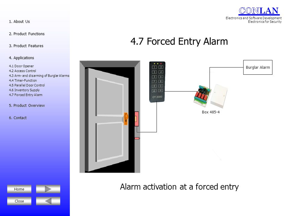 Alarm activation at a forced entry