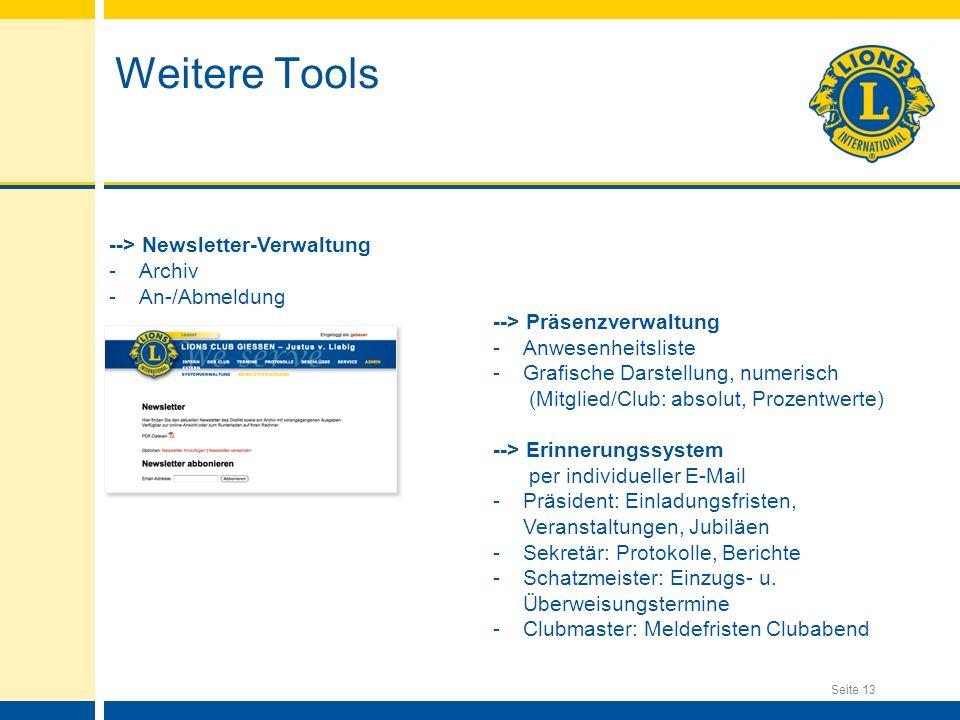 Weitere Tools --> Newsletter-Verwaltung Archiv An-/Abmeldung