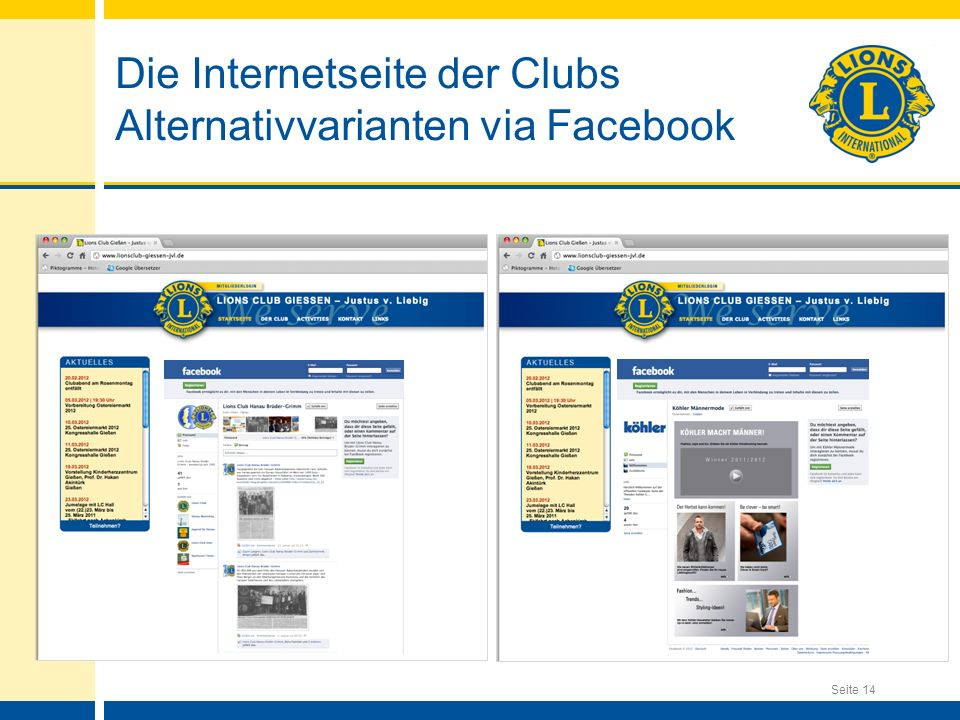 Die Internetseite der Clubs Alternativvarianten via Facebook