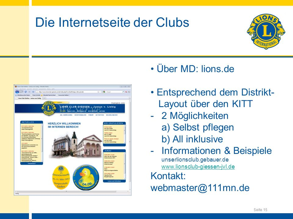 Die Internetseite der Clubs