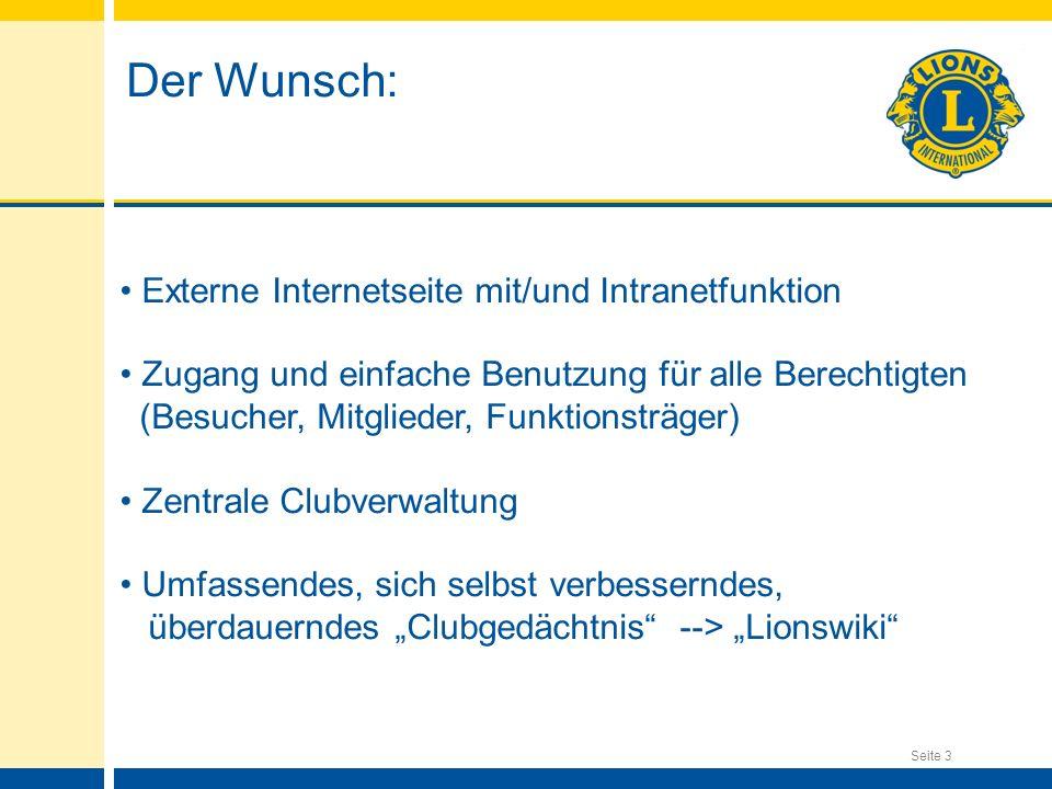 Der Wunsch: Externe Internetseite mit/und Intranetfunktion