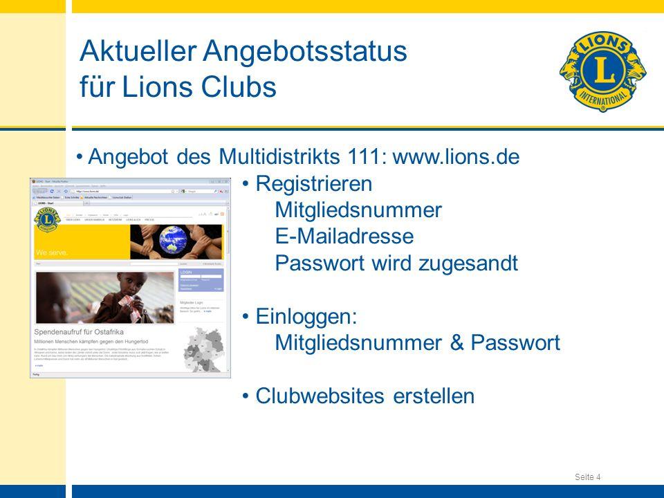 Aktueller Angebotsstatus für Lions Clubs