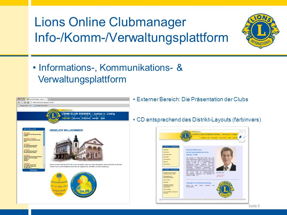 Lions Online Clubmanager Info-/Komm-/Verwaltungsplattform