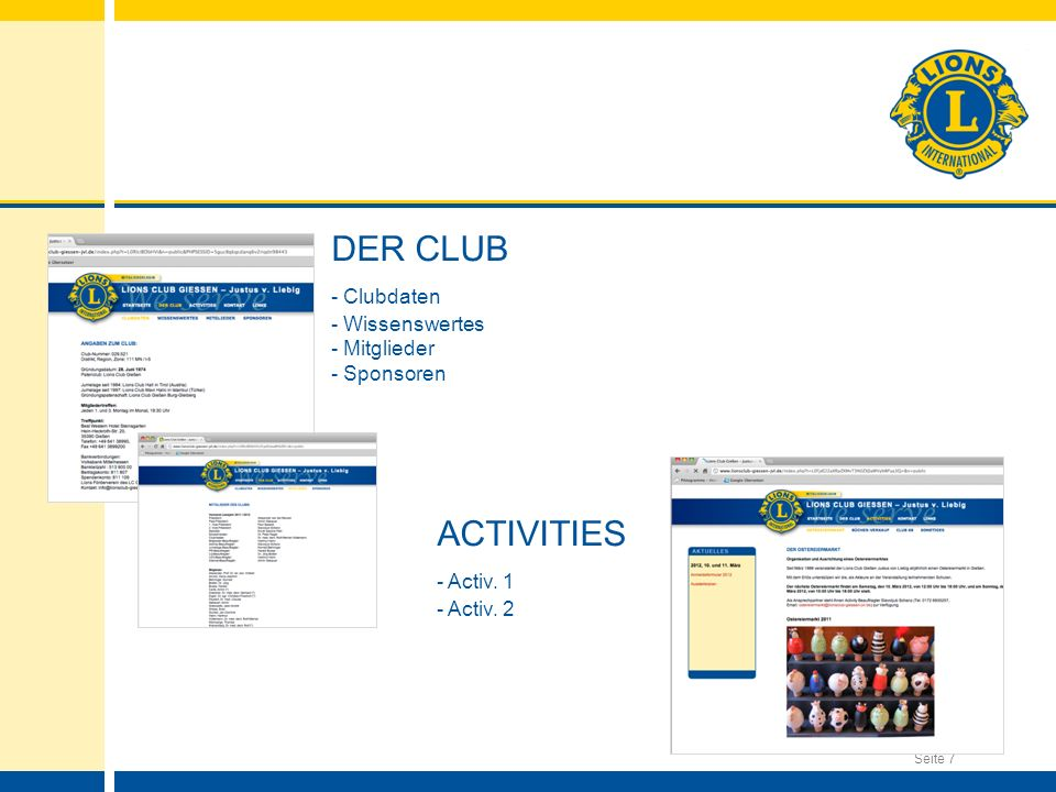 DER CLUB - Clubdaten ACTIVITIES - Activ. 1 - Wissenswertes