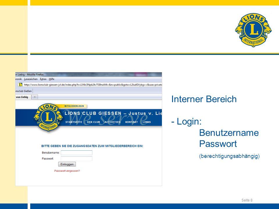 Interner Bereich - Login: Benutzername Passwort (berechtigungsabhängig)