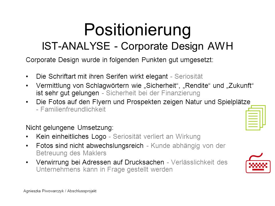 Positionierung IST-ANALYSE - Corporate Design AWH