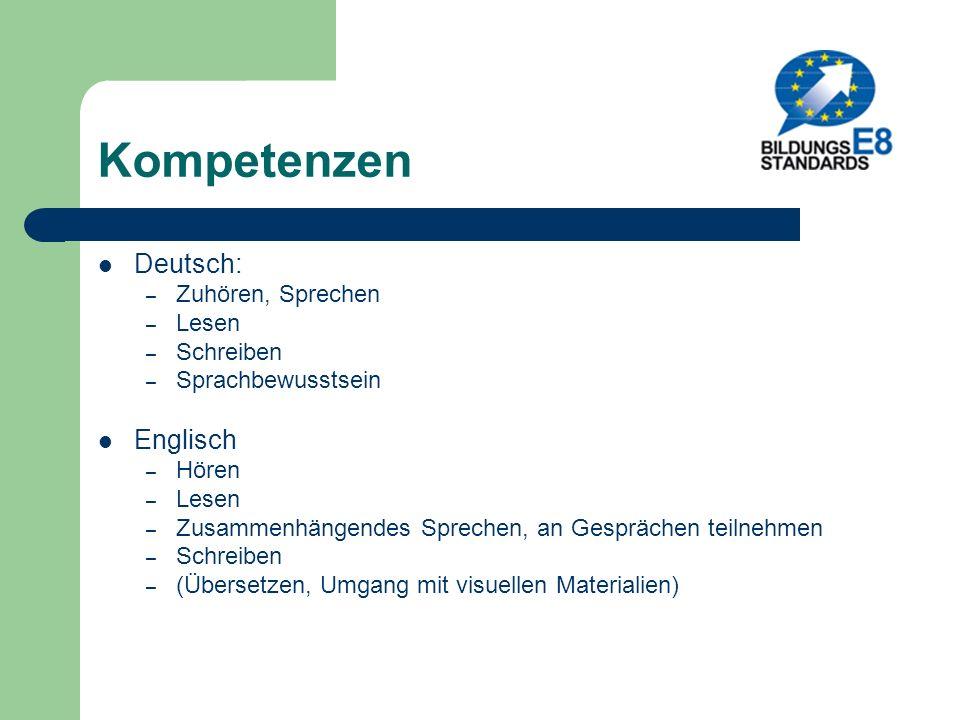Kompetenzen Deutsch: Englisch Zuhören, Sprechen Lesen Schreiben
