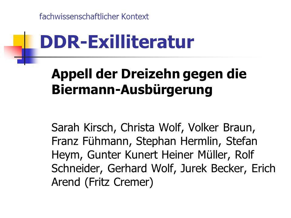 fachwissenschaftlicher Kontext DDR-Exilliteratur