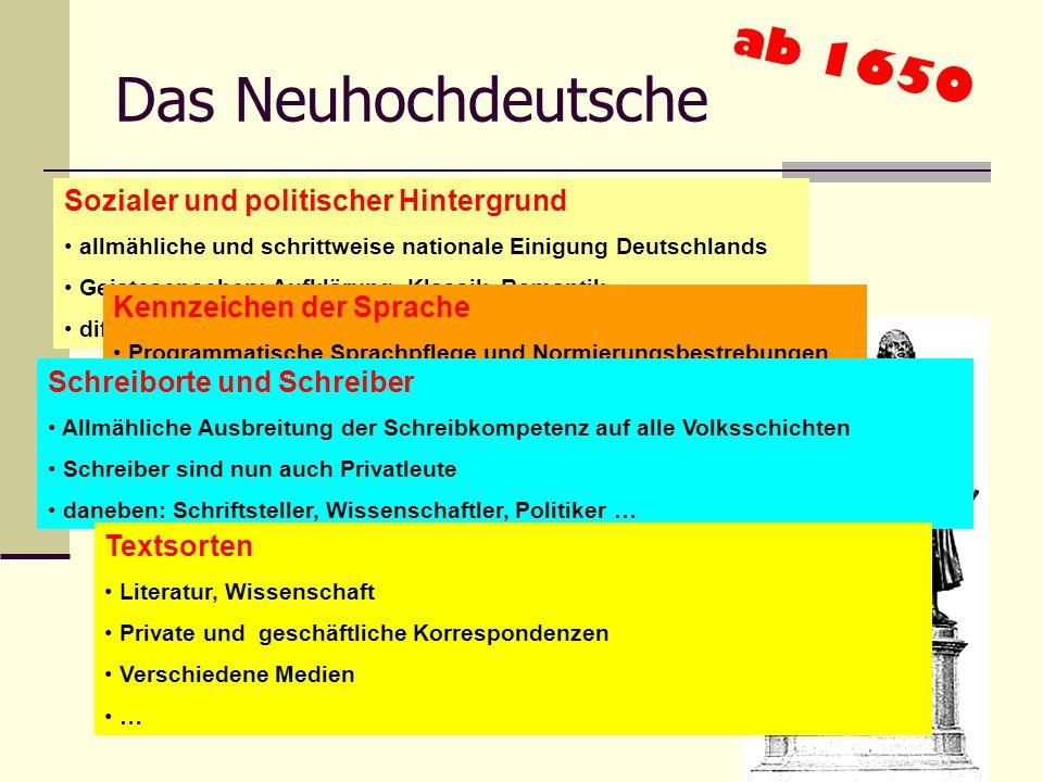 Das Neuhochdeutsche ab 1650 Sozialer und politischer Hintergrund