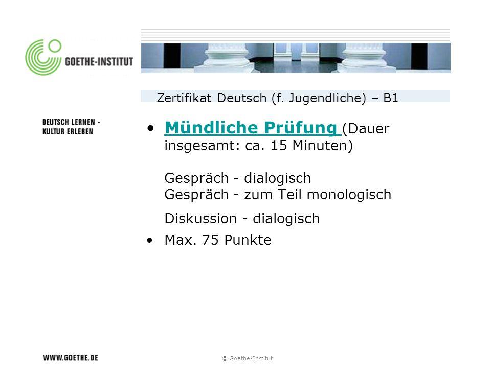 Zertifikat Deutsch (f. Jugendliche) – B1