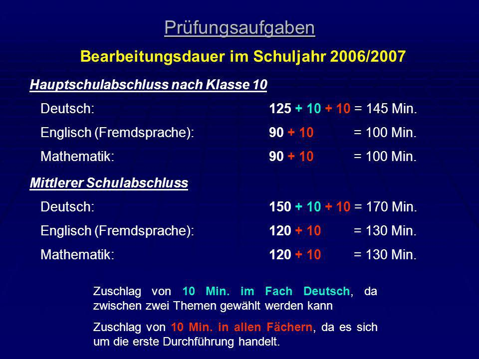 Bearbeitungsdauer im Schuljahr 2006/2007