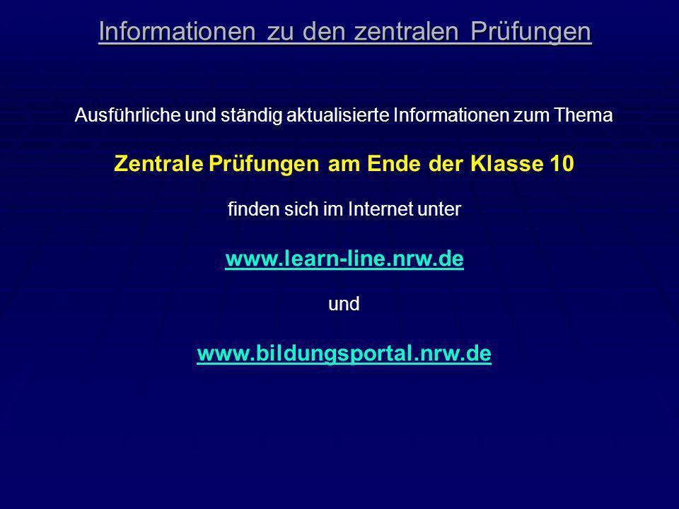 Informationen zu den zentralen Prüfungen