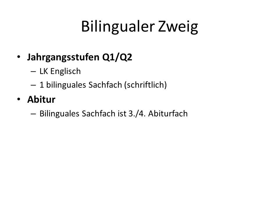 Bilingualer Zweig Jahrgangsstufen Q1/Q2 Abitur LK Englisch